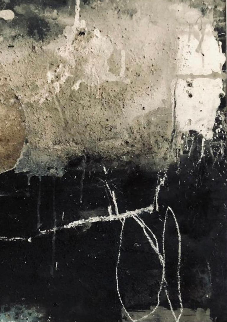 German Artist, Mixed-Media on wood - Abstract Painting by Hildur Ines