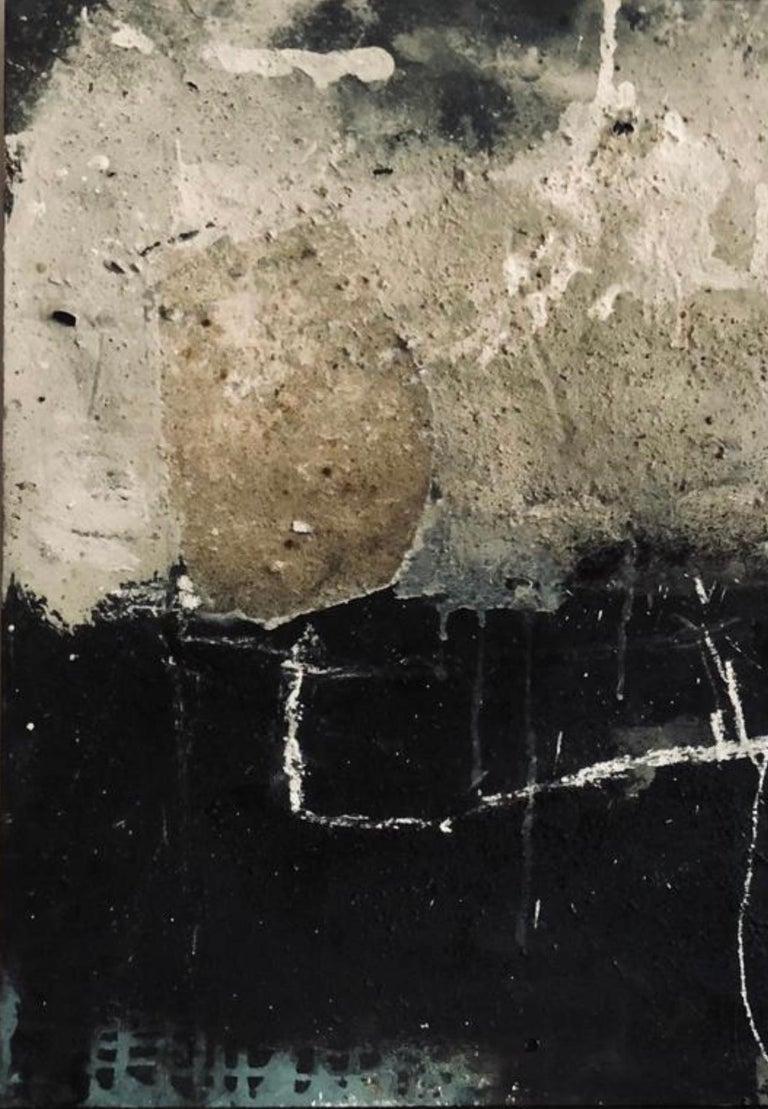 German Artist, Mixed-Media on wood - Brown Abstract Painting by Hildur Ines
