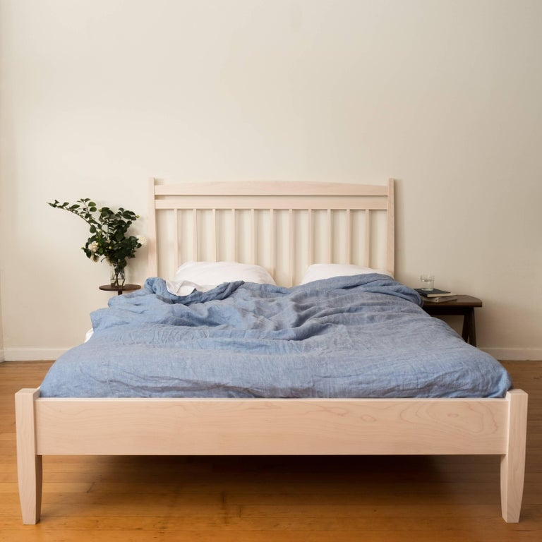 A new addition to the Hill Collection by Tretiak Works. This bed combines inspiration from shaker furniture with modern proportions. The legs and spindles are all square in section with graceful tapers for an elegant yet robust look. The 48