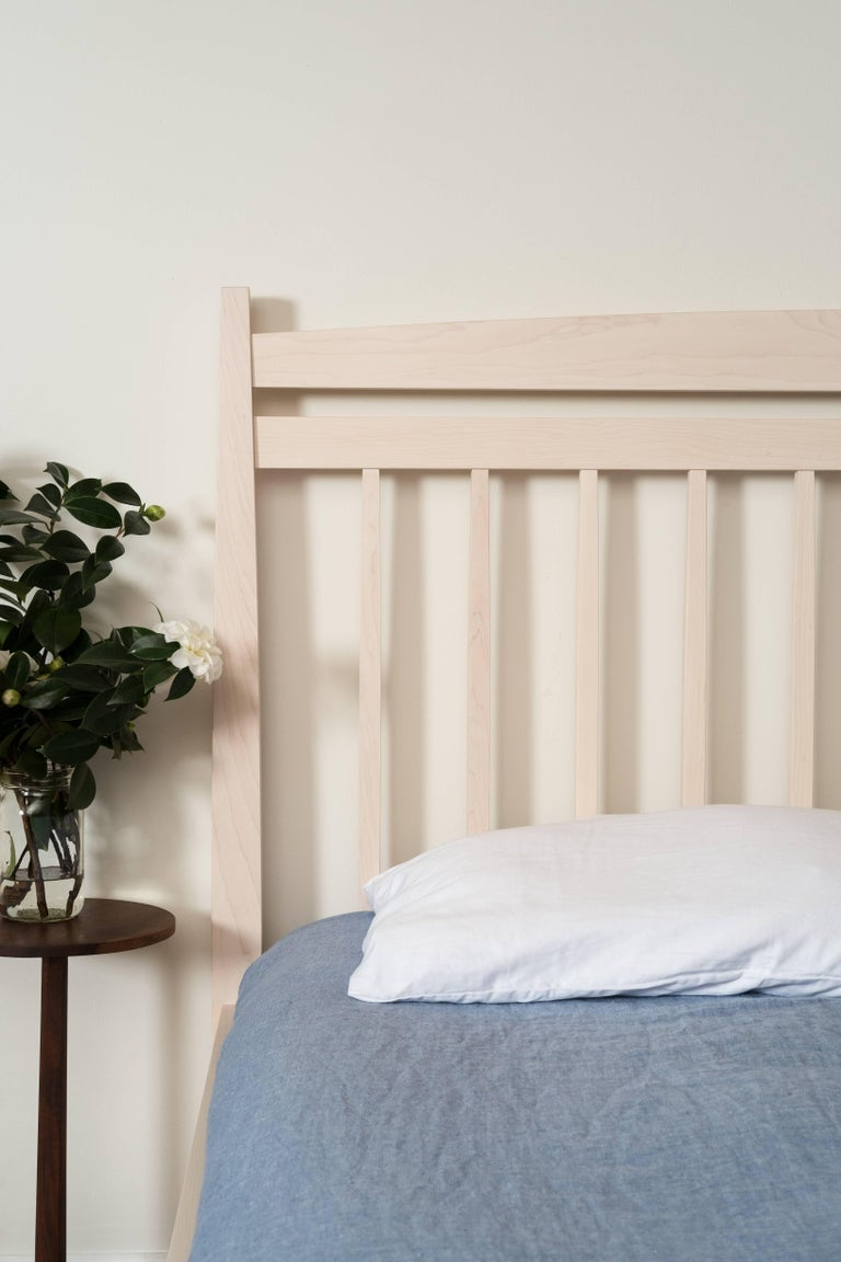 Shaker Hill Bed by Tretiak Works, Contemporary Handmade Oxidized Oak Queen Bed For Sale