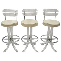 Hill Mfg Lucite Swivel Seat Tusk Barstools Chair Charles Hollis Jones, Set of 3