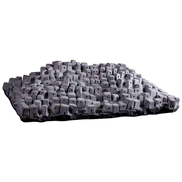 Hill Town, Black Marble Sculpture For Sale