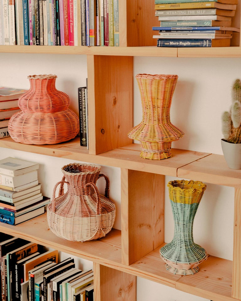 Contemporary Hillary Woven Vase in Peach and Pink by Studio Herron For Sale