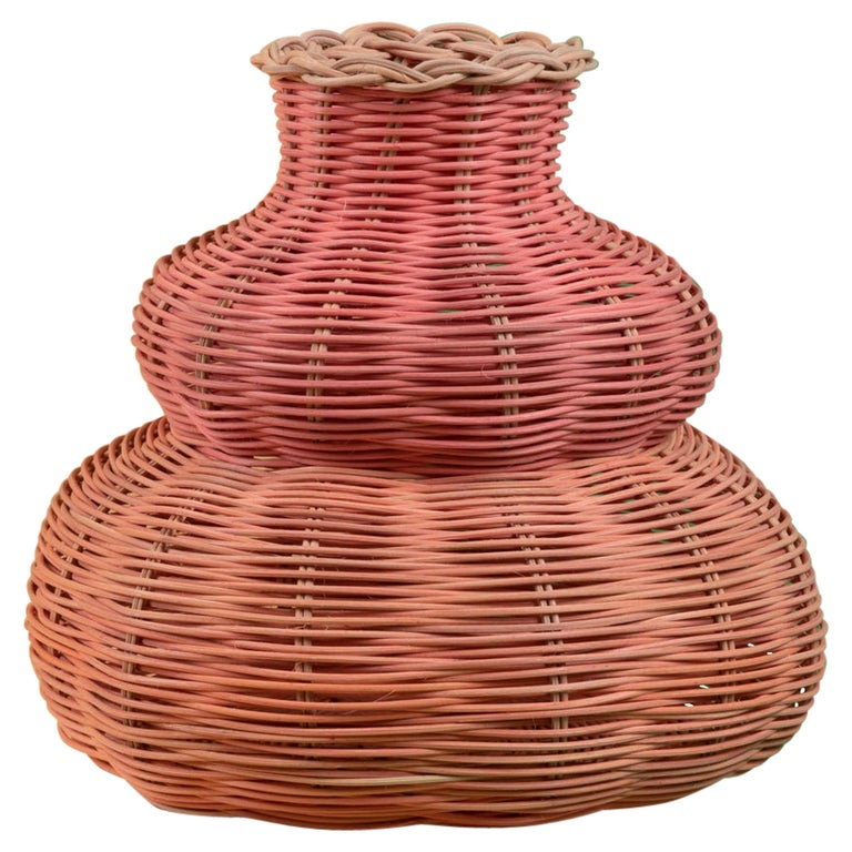 Hillary Woven Vase in Peach and Pink by Studio Herron For Sale