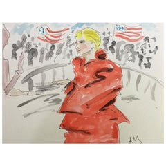 Hillary in Maison Margiela, Watercolor on Archival Paper