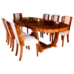 Art Deco 8-Seat Dining Suite by Hille in Walnut Veneer London England 1930