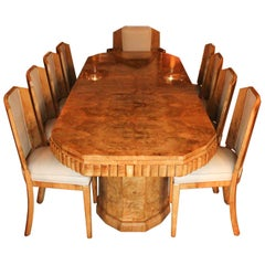 Hille Art Deco Ten-Seat Dining Suite Two Carvers Eight Side Chairs, circa 1935