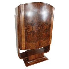 Hille Art Deco U Base Cocktail Bar in Figured Walnut, circa 1930