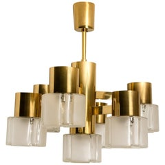 Hillebrand Chandelier Matt and Clear Glass Shades and Brass, circa 1970s Germany
