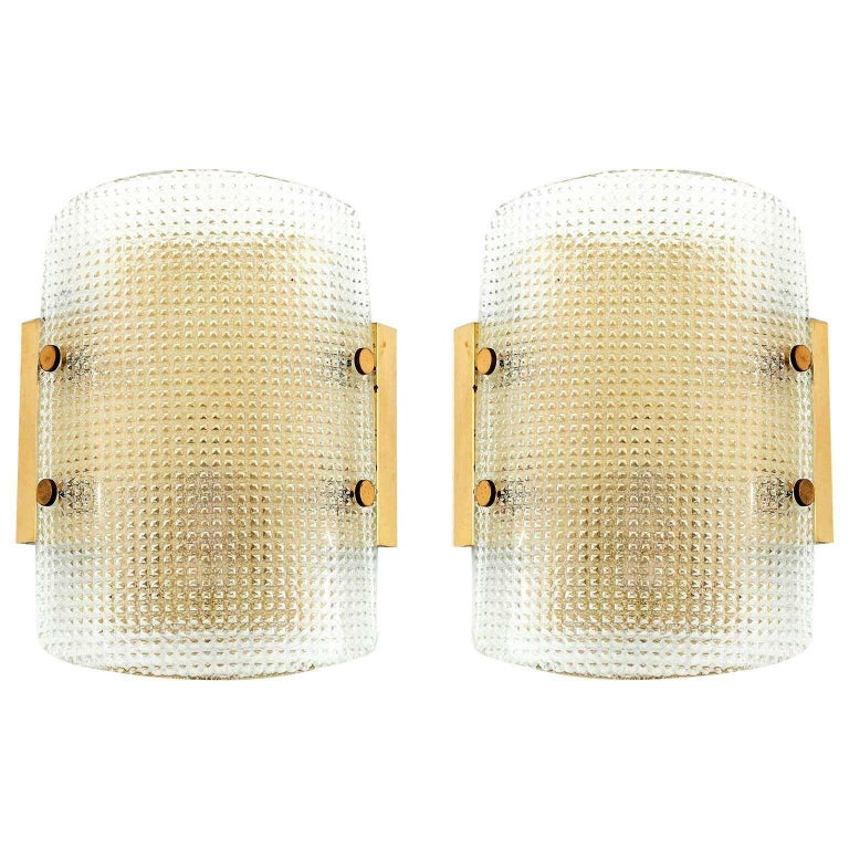 Hillebrand Flush Mount or Wall Light Fixture, Brass Square Pattern Glass, 1970 For Sale 3