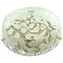 Hillebrand Leuchten Modernist Murano Ice Glass Flush Mount, 1960s