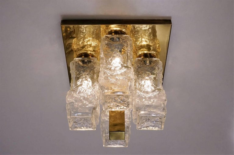 Hillebrand Lighting Pair Flush Lights Brutalist Glass and Brass, circa 1970s For Sale 7