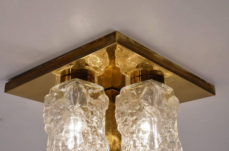 Hillebrand Lighting Pair Flush Lights Brutalist Glass and Brass, circa 1970s For Sale 8