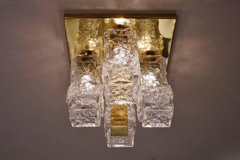 Hillebrand Lighting Pair Flush Lights Brutalist Glass and Brass, circa 1970s For Sale 1
