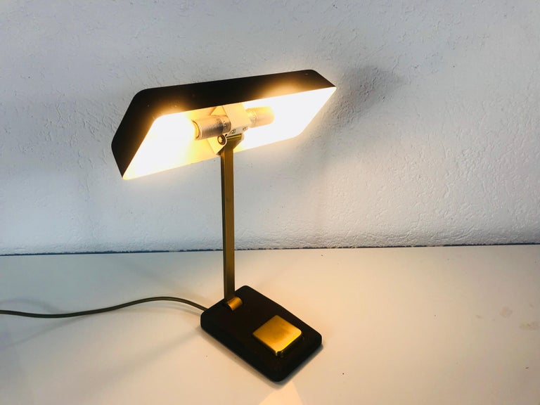 Mid-Century Modern Hillebrand Midcentury Brass and Metal Table Lamp, 1960s, Germany For Sale