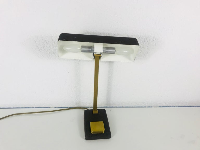 Mid-20th Century Hillebrand Midcentury Brass and Metal Table Lamp, 1960s, Germany For Sale
