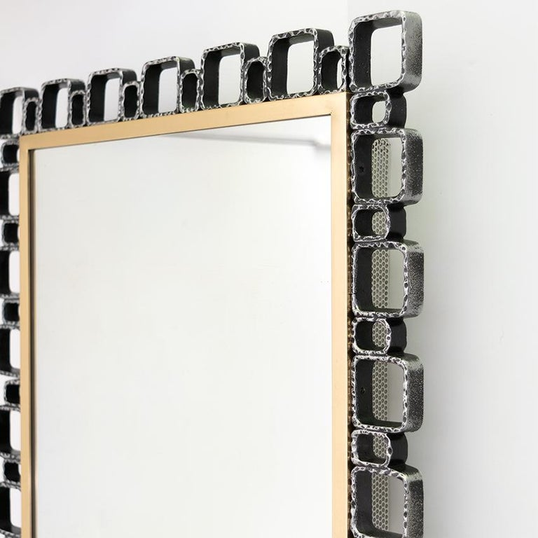 Cast Hillebrand Mid-Century Modern Mirror with Back Light For Sale