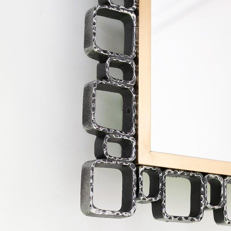Metal Hillebrand Mid-Century Modern Mirror with Back Light For Sale