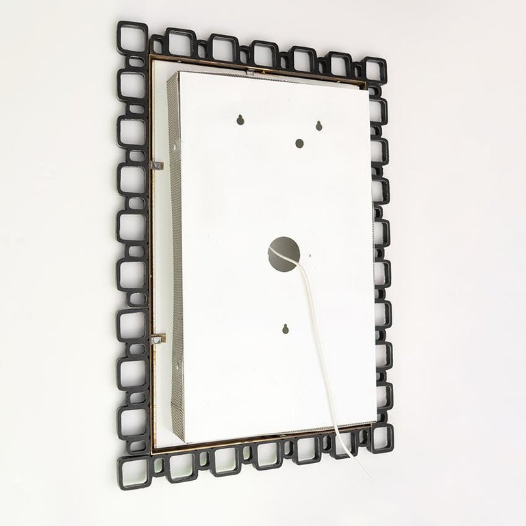 Hillebrand Mid-Century Modern Mirror with Back Light For Sale 2