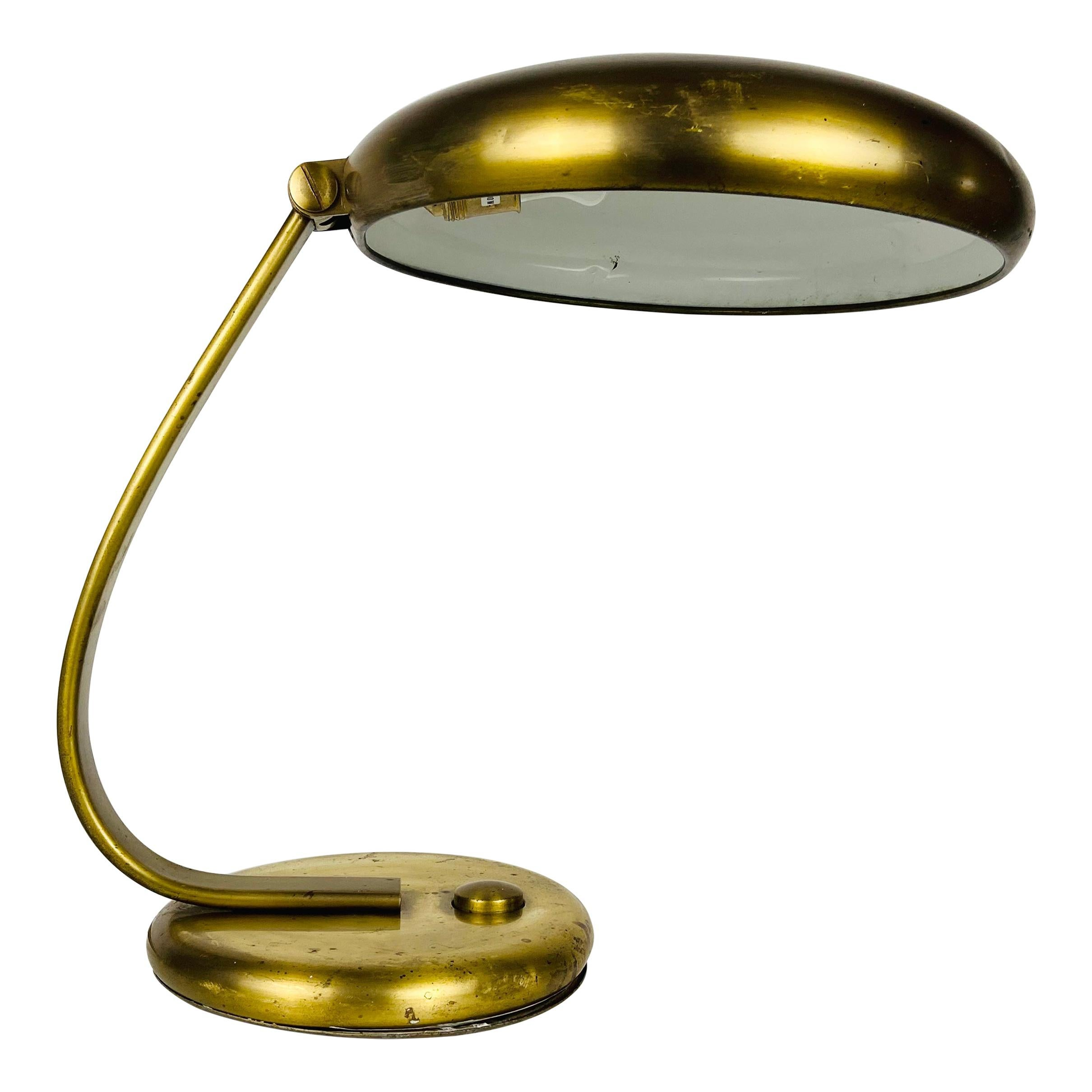 Hillebrand Midcentury Full Brass Table Lamp, 1960s, Germany