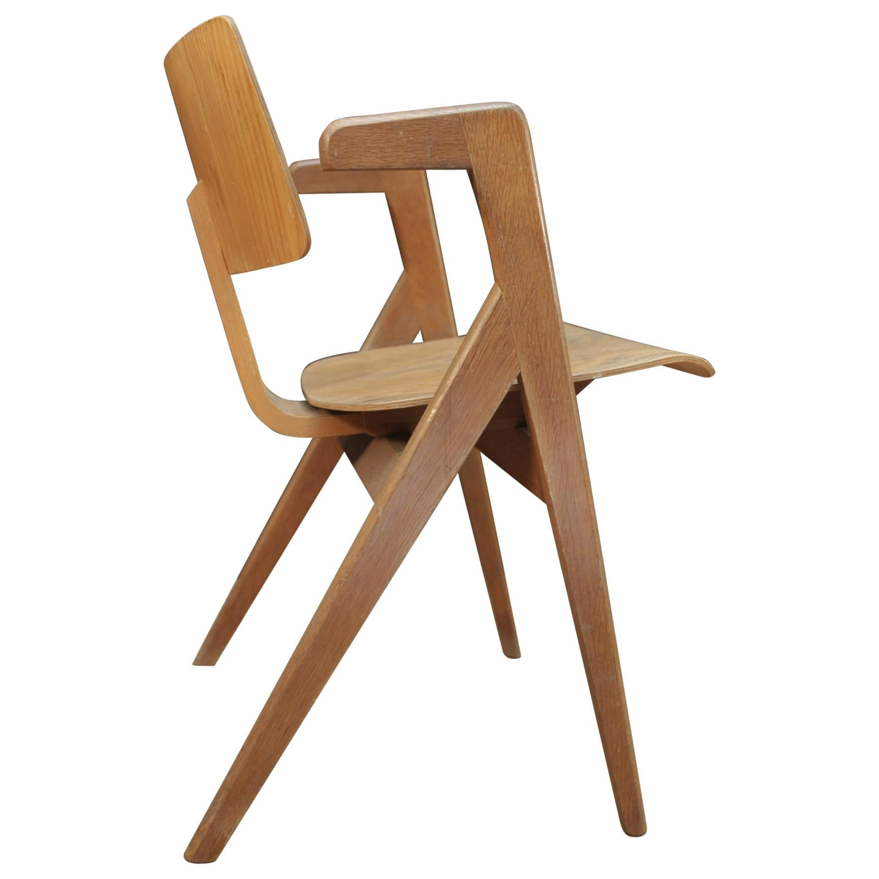 Hillestak Oak Armchair by Robin Day for Hille, Circa 1950