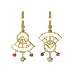 The Hilma Ruby, Gray And Black Diamond Gold Earrings