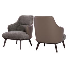 Hilton Accent Chair in Two-Tone 'Grey-Brown' Fabric & Italian Leather Upholstery