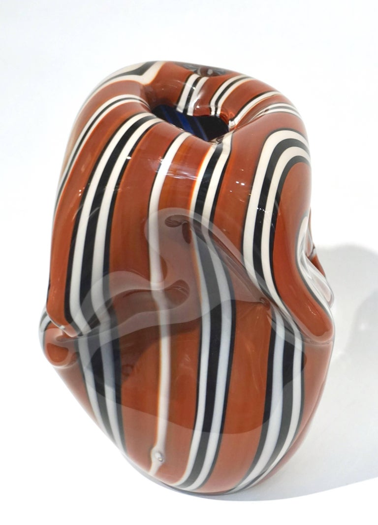 Hilton McConnico for Formia, 1990s Italian Brown Black White Murano Glass Vase For Sale 4