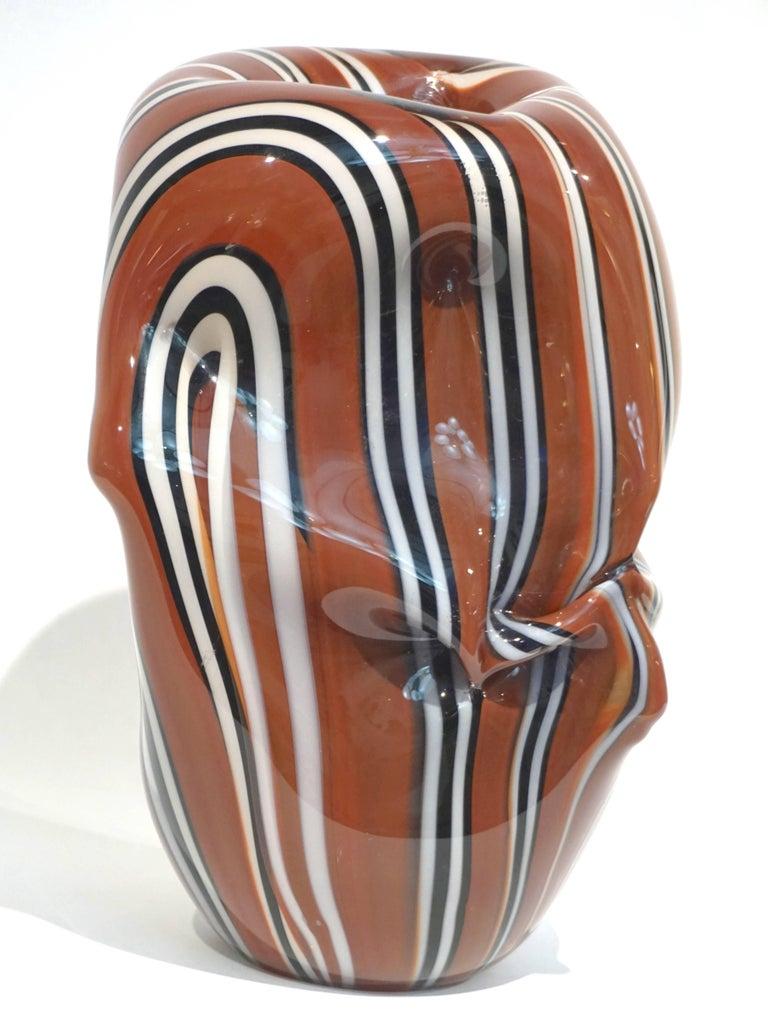 Hilton McConnico for Formia, 1990s Italian Brown Black White Murano Glass Vase For Sale 5