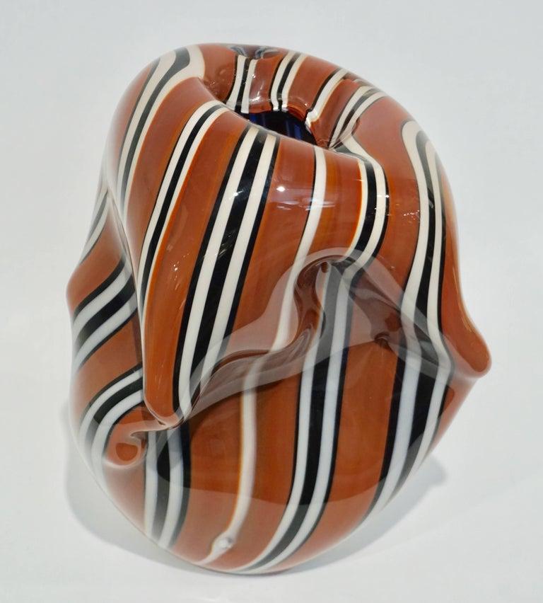 Hilton McConnico for Formia, 1990s Italian Brown Black White Murano Glass Vase For Sale 6