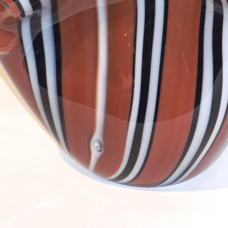 Hilton McConnico for Formia, 1990s Italian Brown Black White Murano Glass Vase For Sale 7