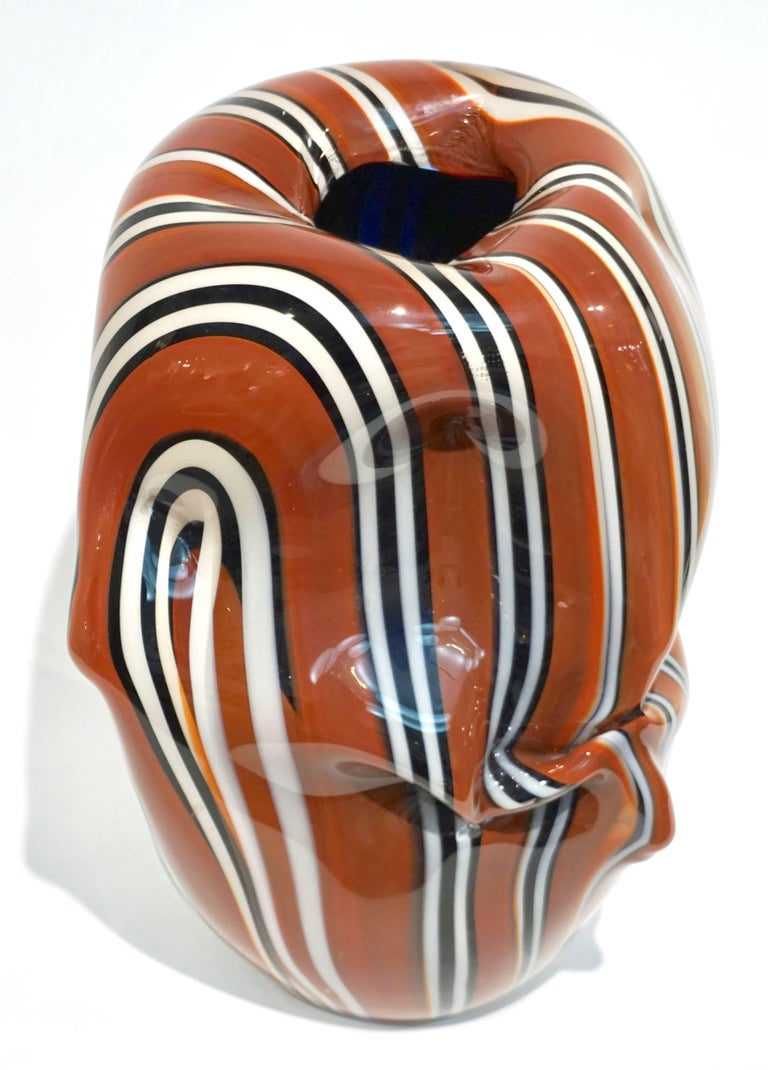 Hand-Crafted Hilton McConnico for Formia, 1990s Italian Brown Black White Murano Glass Vase For Sale