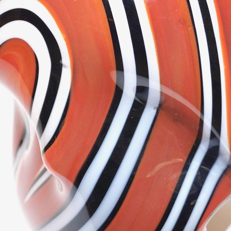 Late 20th Century Hilton McConnico for Formia, 1990s Italian Brown Black White Murano Glass Vase For Sale