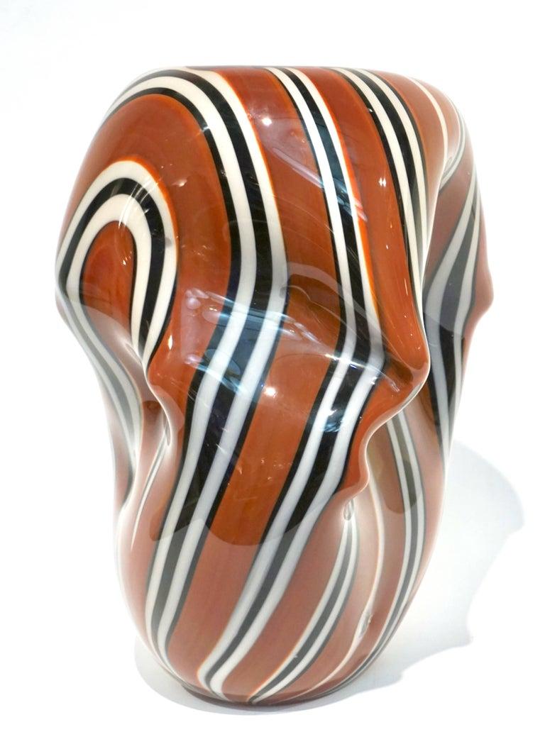 Hilton McConnico for Formia, 1990s Italian Brown Black White Murano Glass Vase For Sale 3