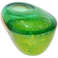 Hilton McConnico by Formia 1990s Italian Green Spotted Murano Art Glass Vase