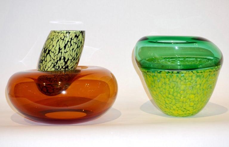 Organic Modern Hilton McConnico by Formia 1990s Italian Orange Murano Art Glass Vase For Sale