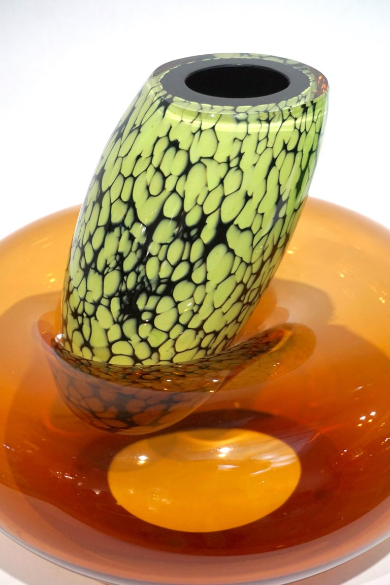 Hand-Crafted Hilton McConnico by Formia 1990s Italian Orange Murano Art Glass Vase For Sale