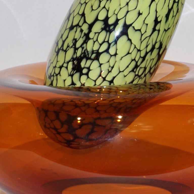 Late 20th Century Hilton McConnico by Formia 1990s Italian Orange Murano Art Glass Vase For Sale