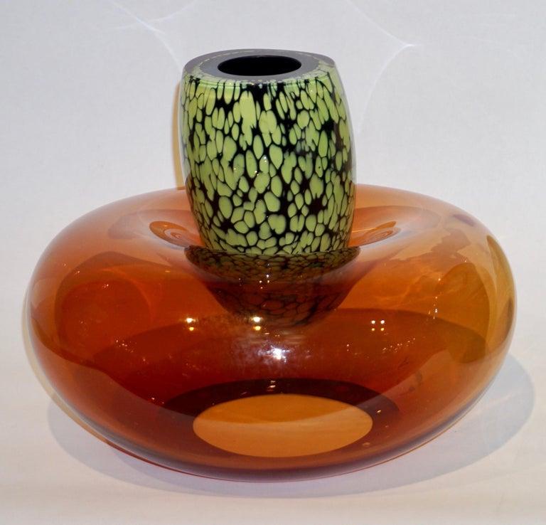 Murano Glass Hilton McConnico by Formia 1990s Italian Orange Murano Art Glass Vase For Sale