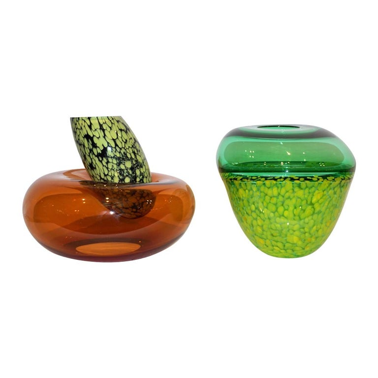 Hilton McConnico by Formia 1990s Italian Orange Murano Art Glass Vase For Sale 2