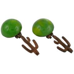 Hilton McConnico for Daum Vintage Pate de Verre Cactus Dangling Earrings