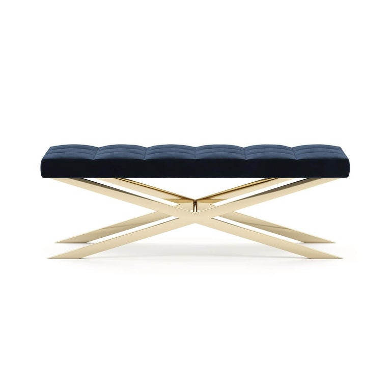 Bench Hilton X with structure in polished
