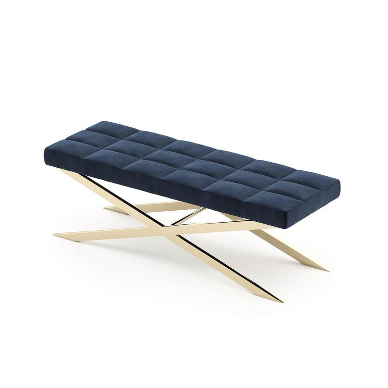 Portuguese Hilton X Bench in Gold Finish For Sale