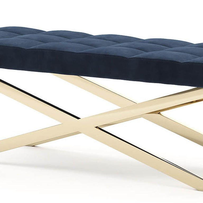 Hand-Crafted Hilton X Bench in Gold Finish For Sale
