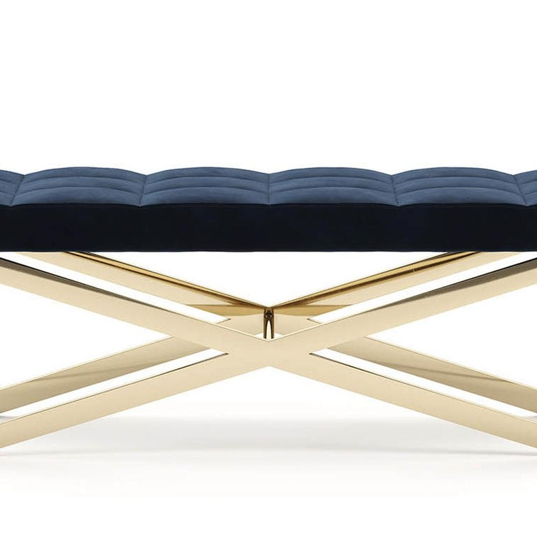 Hilton X Bench in Gold Finish In New Condition For Sale In Paris, FR