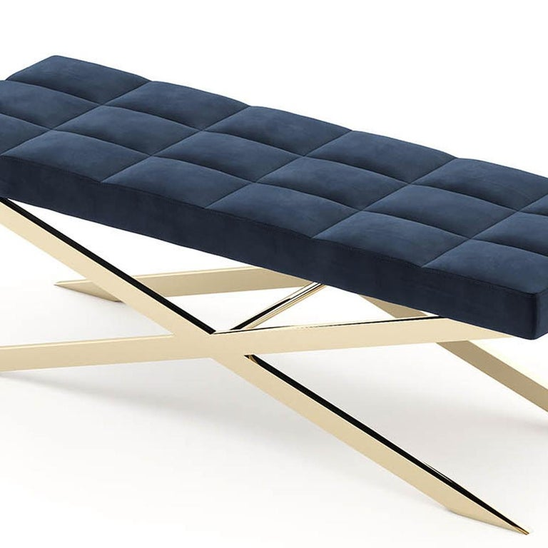 Contemporary Hilton X Bench in Gold Finish For Sale