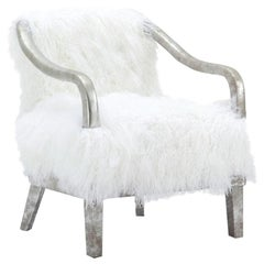 Himalaya Tibetan Sheepskin Armchair, Optical White Fur
