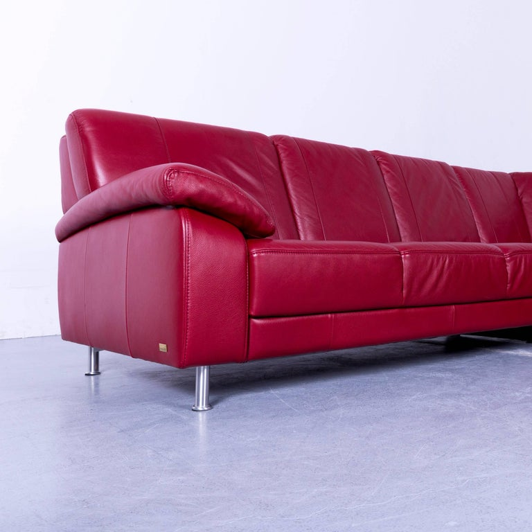 Himolla Corner Sofa Leather Red Modern Couch At 1stdibs