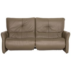 Himolla Cumuly Leather Sofa Olive Green Gray Green Three-Seater Electrical
