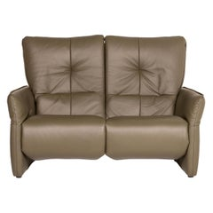 Himolla Cumuly Leather Sofa Olive Green Gray Green Two-Seater Function Relax